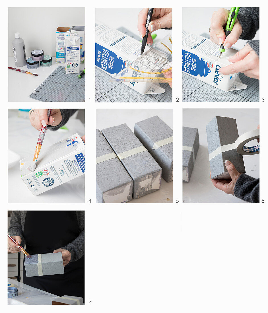 Instructions for making concrete-effect vases from milk cartons