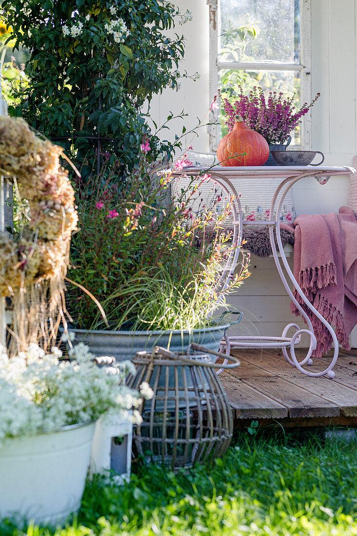 Autumnal arrangement on terrace