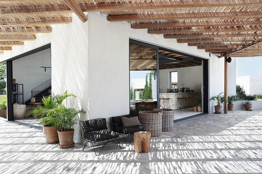 Terrace with thatched sun shade