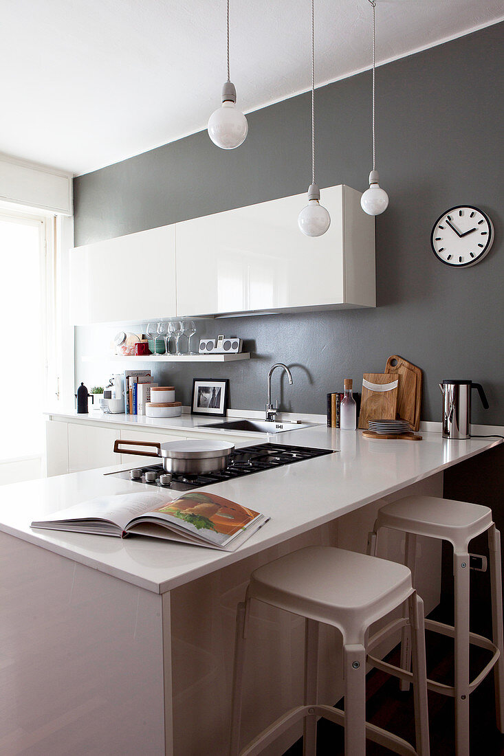Glossy White Cabinets In Kitchen With Buy Image 12979951 Living4media