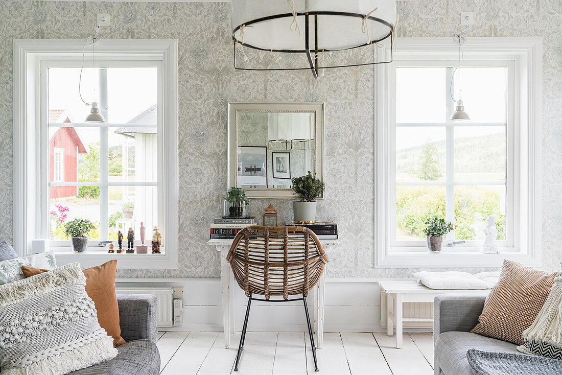 Rattan chair at desk in Scandi style … – Buy image – 20 ...