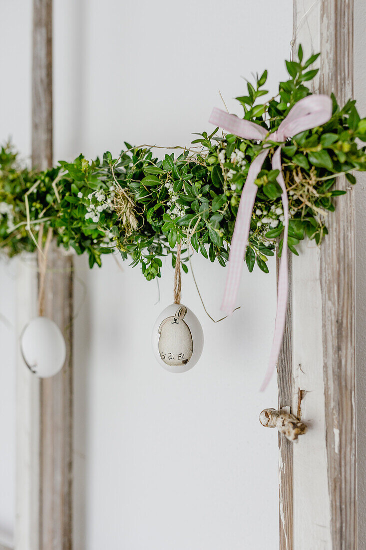 Garland of box decorated with Easter eggs