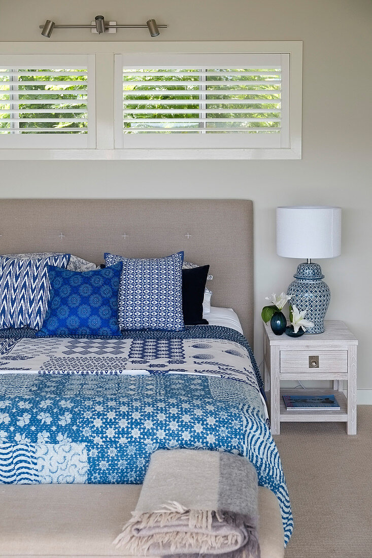 Picture of: Blue And White Patchwork Quilt And Buy Image 13000061 Living4media
