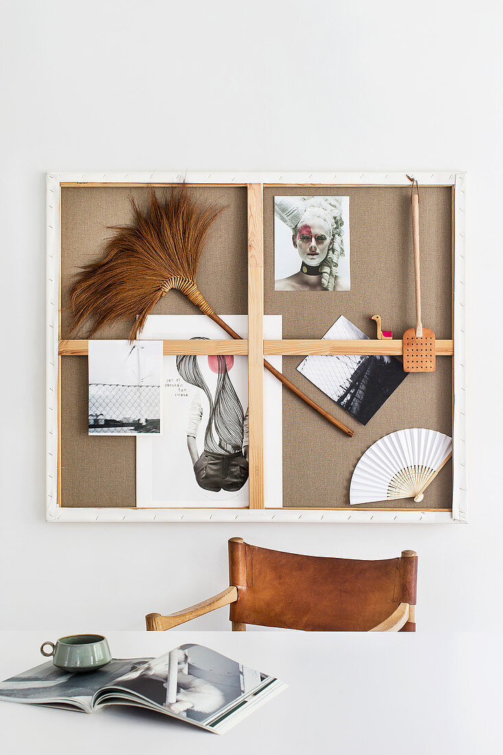 DIY pinboard made from canvas frame