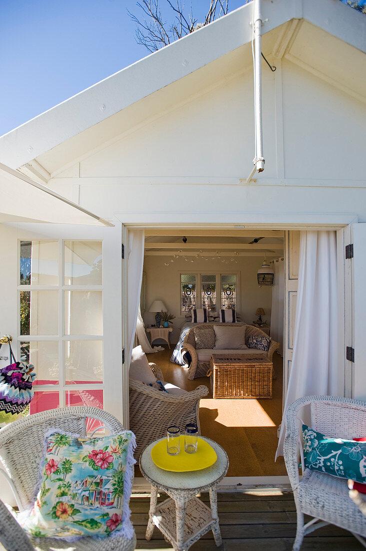 Summery terrace outside guesthouse