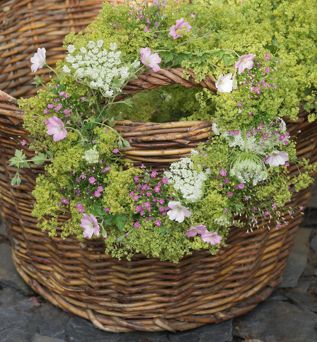 Wreath of lady's mantle, mallows, Queen Anne's lace and gypsophila hung on basket handle