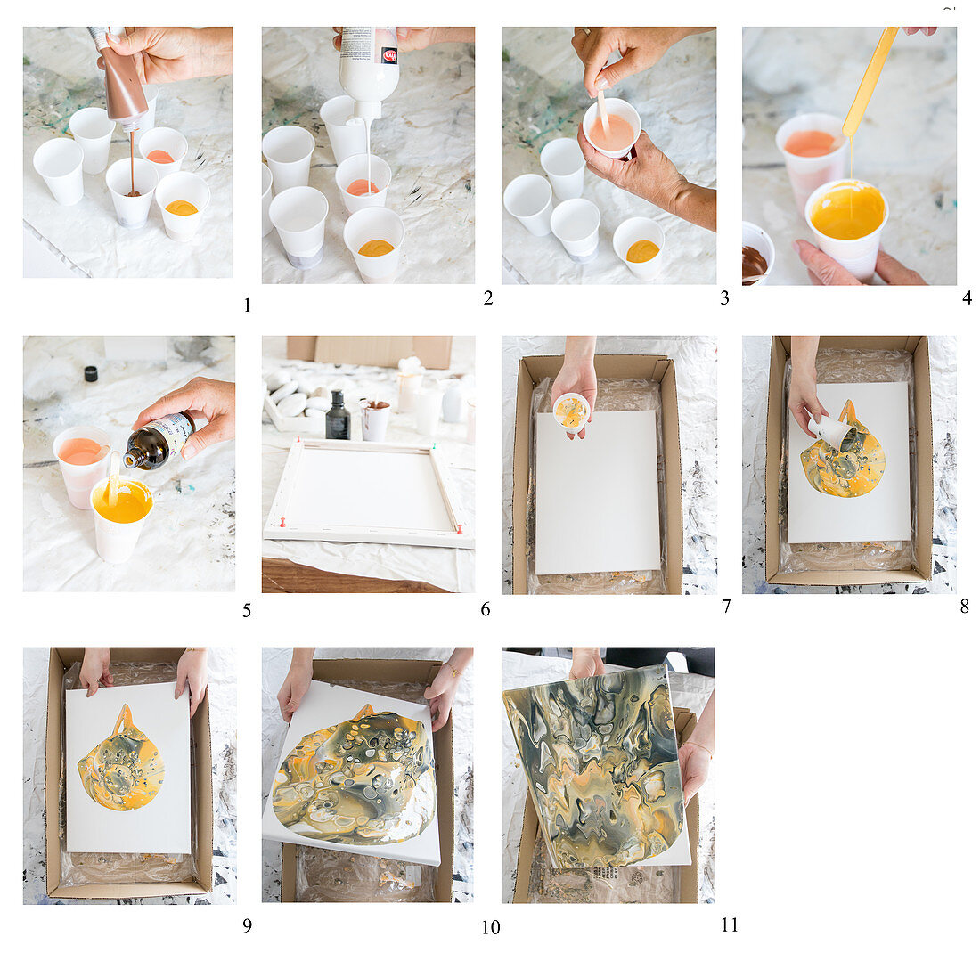Instructions for painting a canvas using a pouring technique