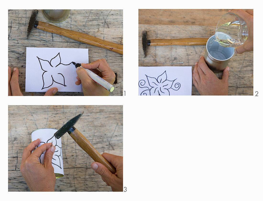 Anleitung für eine Windlicht mit Lochmuster aus einer Konservendose