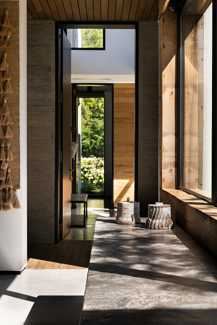 Sunlight falling through windows of architect-designed house