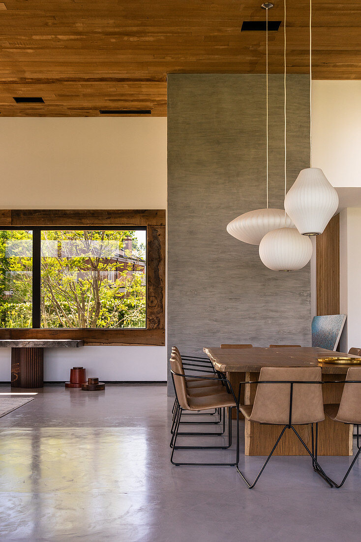 Dining room in natural shades in modern, architect-designed house