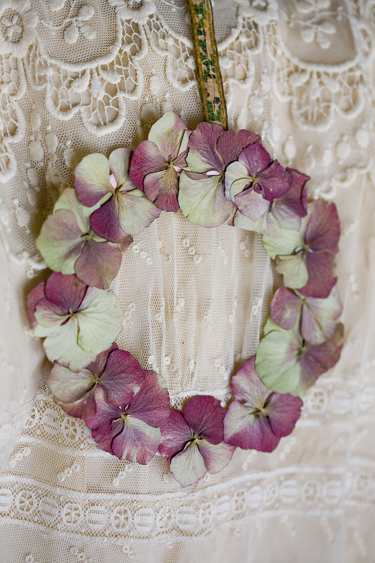 Wreath of dried and pressed hydrangea blossoms