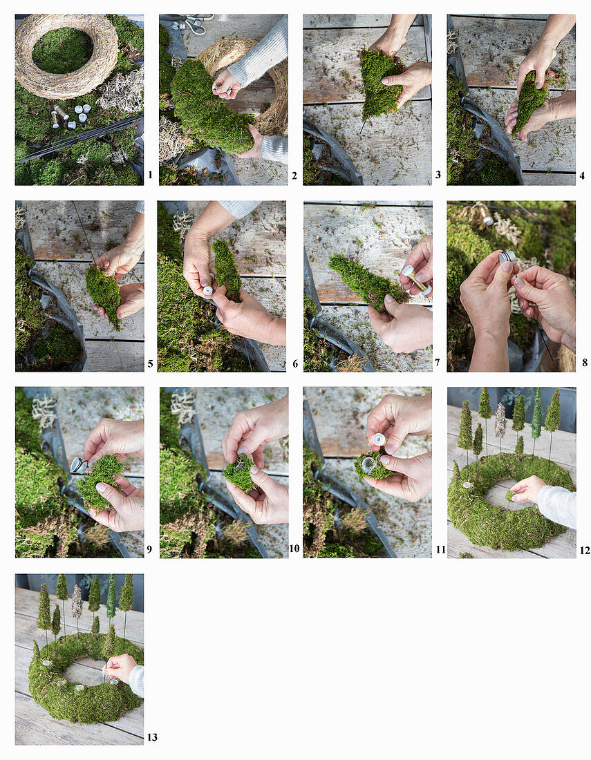 Instructions for making Advent wreath with miniature moss trees