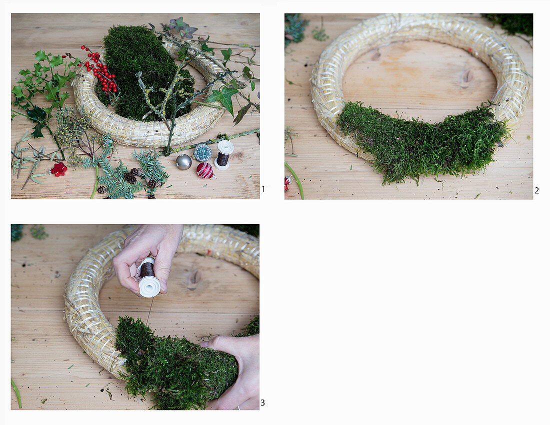 Instructions for making wreath with moss and natural materials