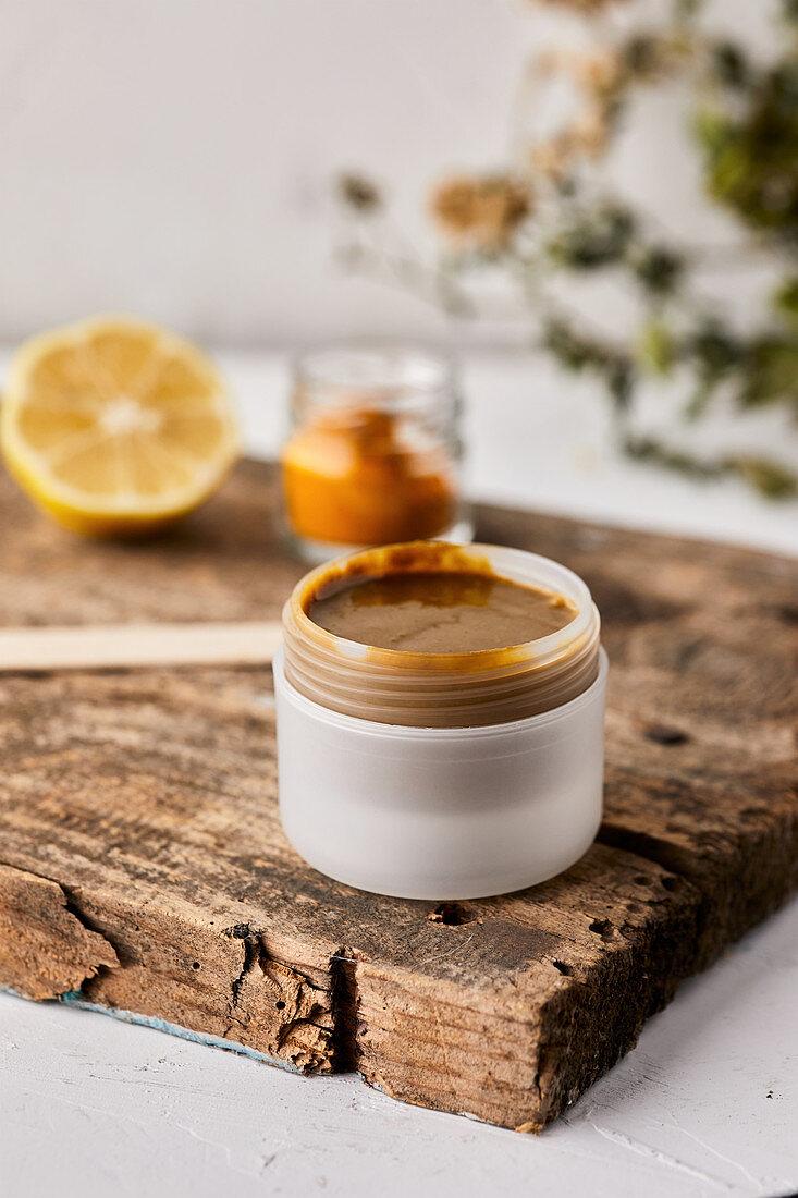 Natural handmade face mask made from lemon and curcuma