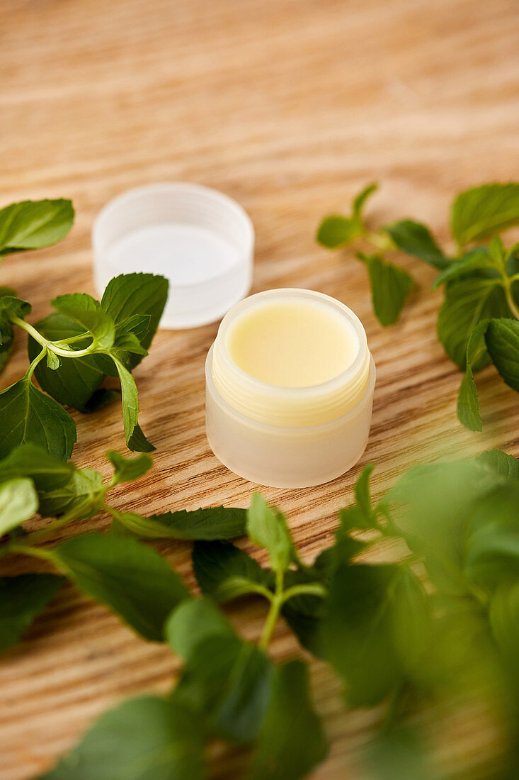 Handmade, natural lip balm with peppermint essential oil