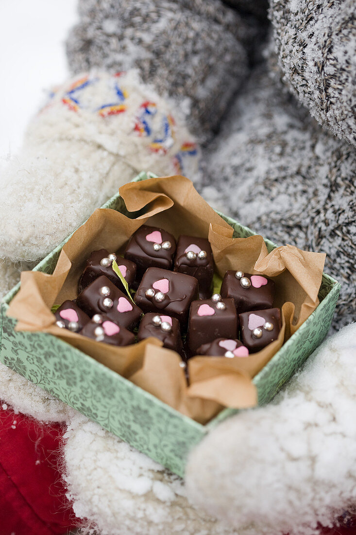Homemade chocolate pralines in a box