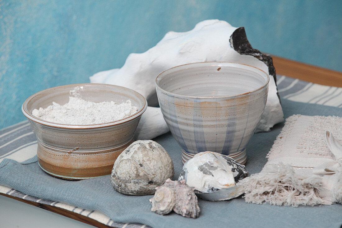Prepared chalk for use in face masks or back masks