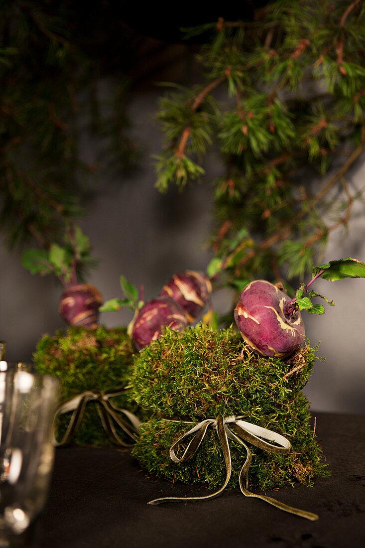 Christmas arrangements of moss