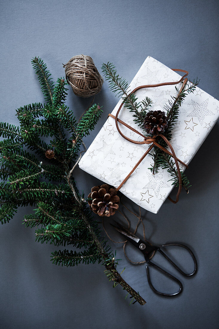 Christmas gift wrapping with pine branch and pinecones