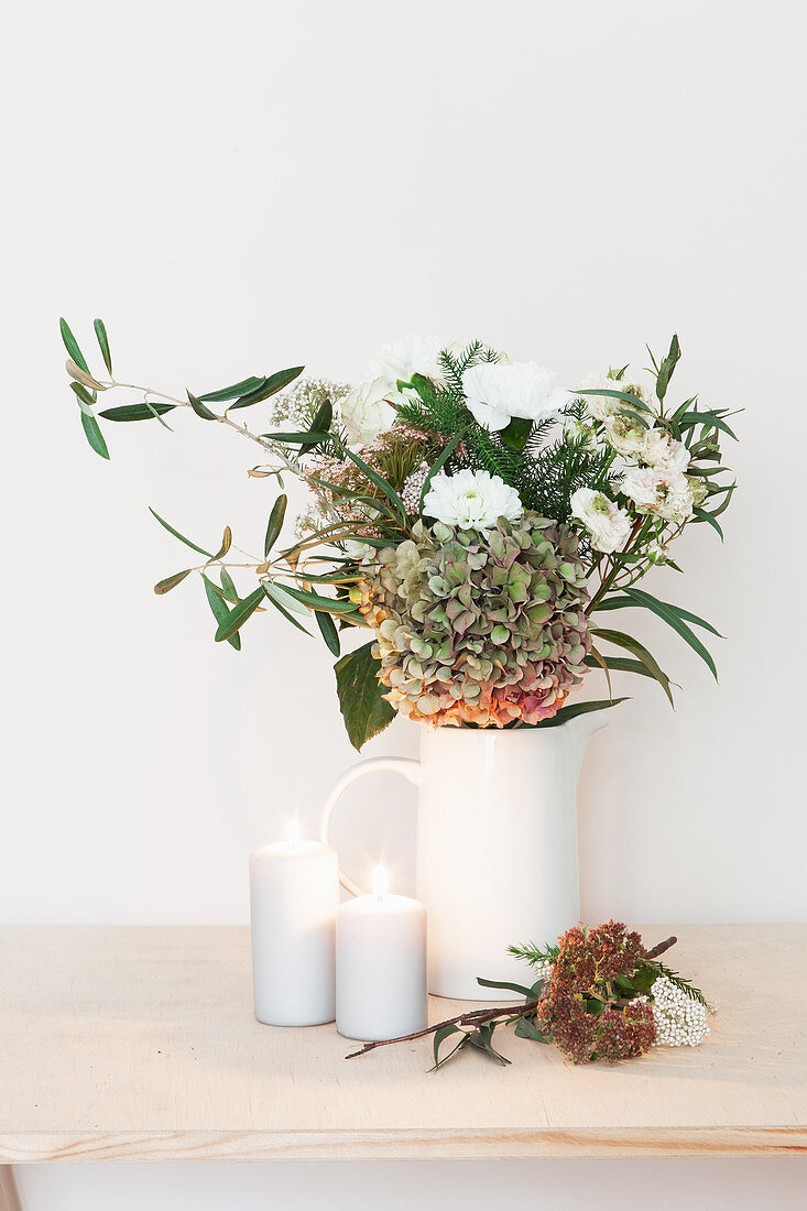 Bouquet of hydrangea, dahlia, carnation, roses and olive branch
