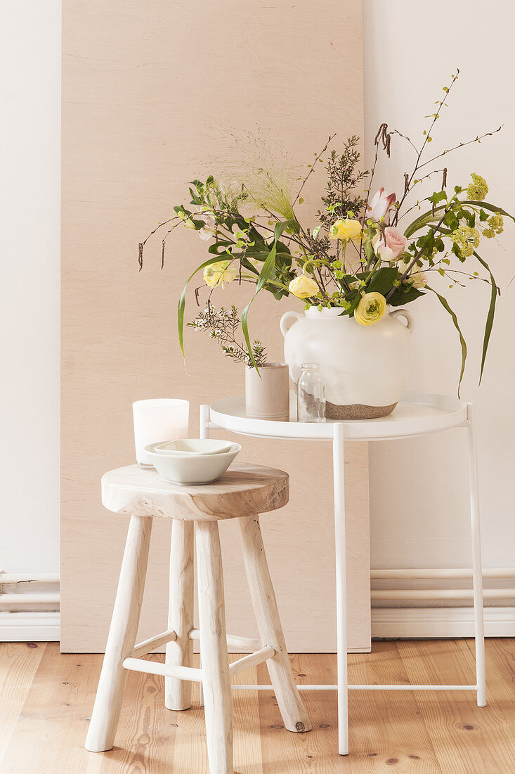 Spring bouquet in delicate pastel shades
