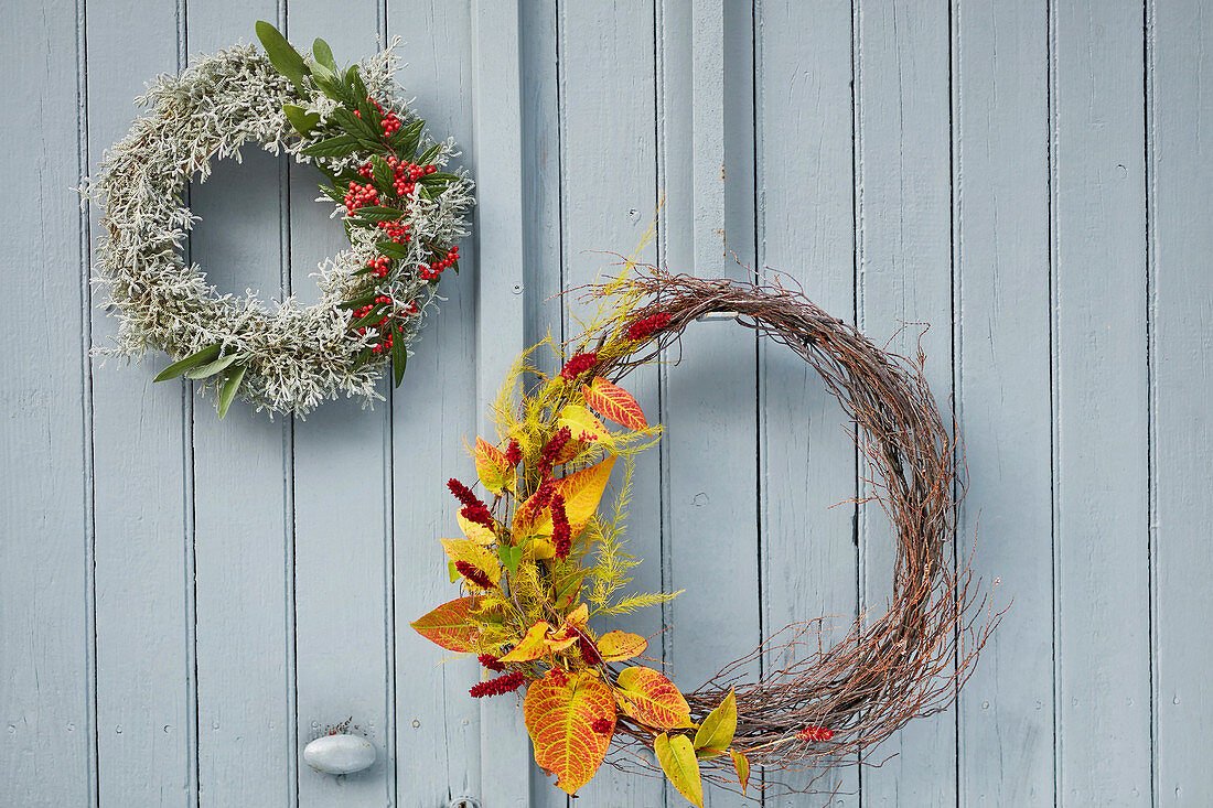 Wreaths of Santolina, cotoneaster and knotweed in autumn colours on door