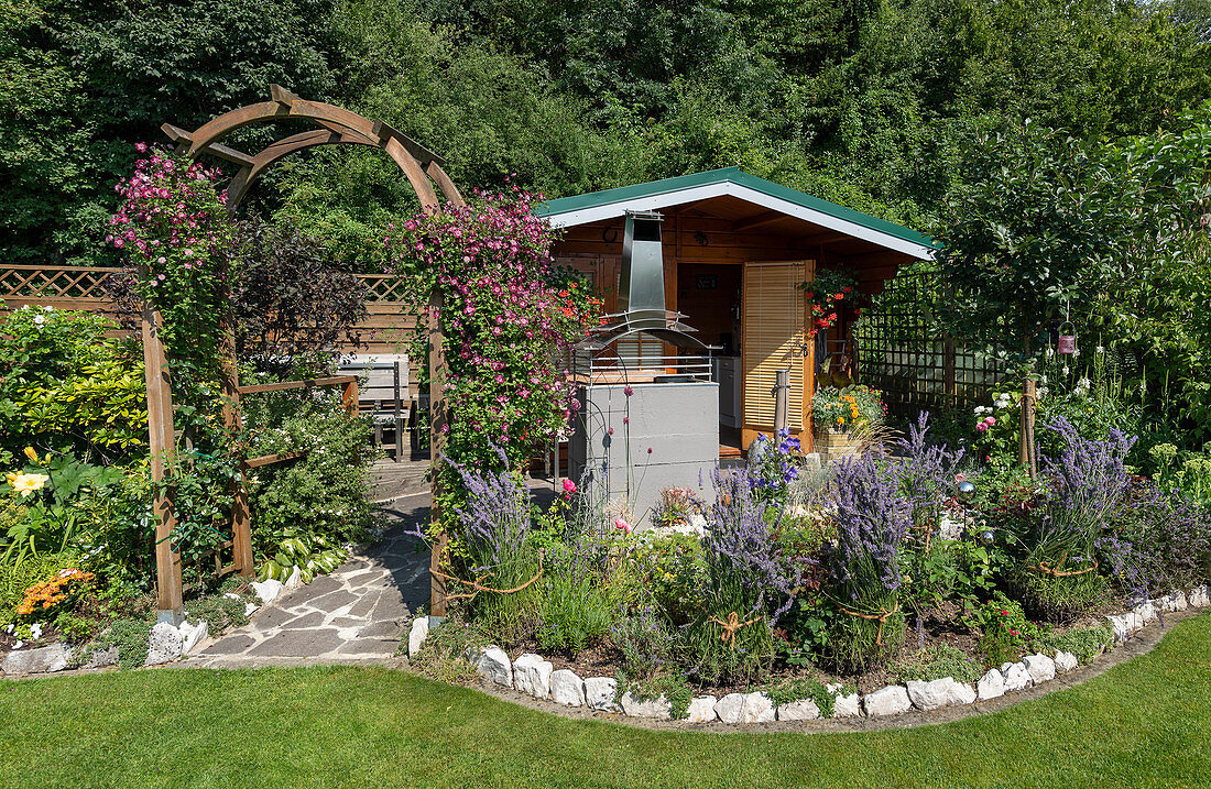 Summer garden with shed, rose arch with Clematis 'Avant-Garde' and perennial bed with lavender planted together