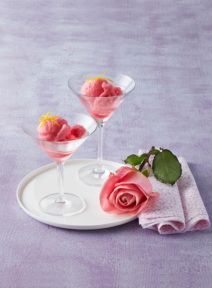 Rose sorbet (sherbet)