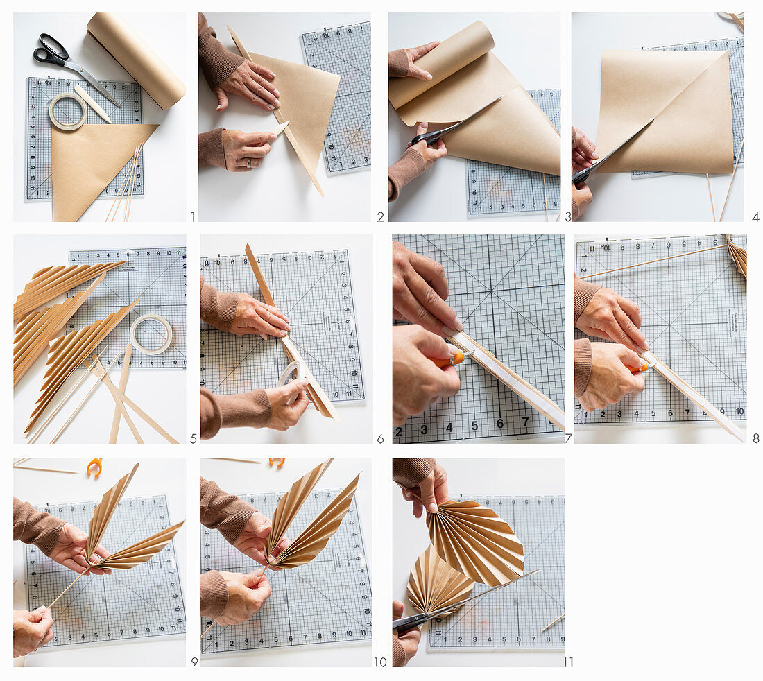Instructions for making brown paper palm leaves