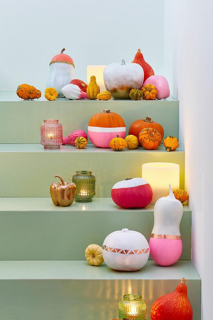 DIY Halloween decoration idea on steps