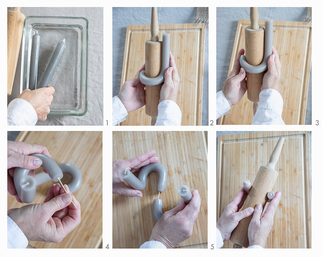 Bending a candle using a rolling pin