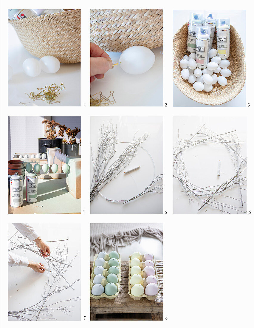 Making an Easter wreath with pastel coloured decorative eggs
