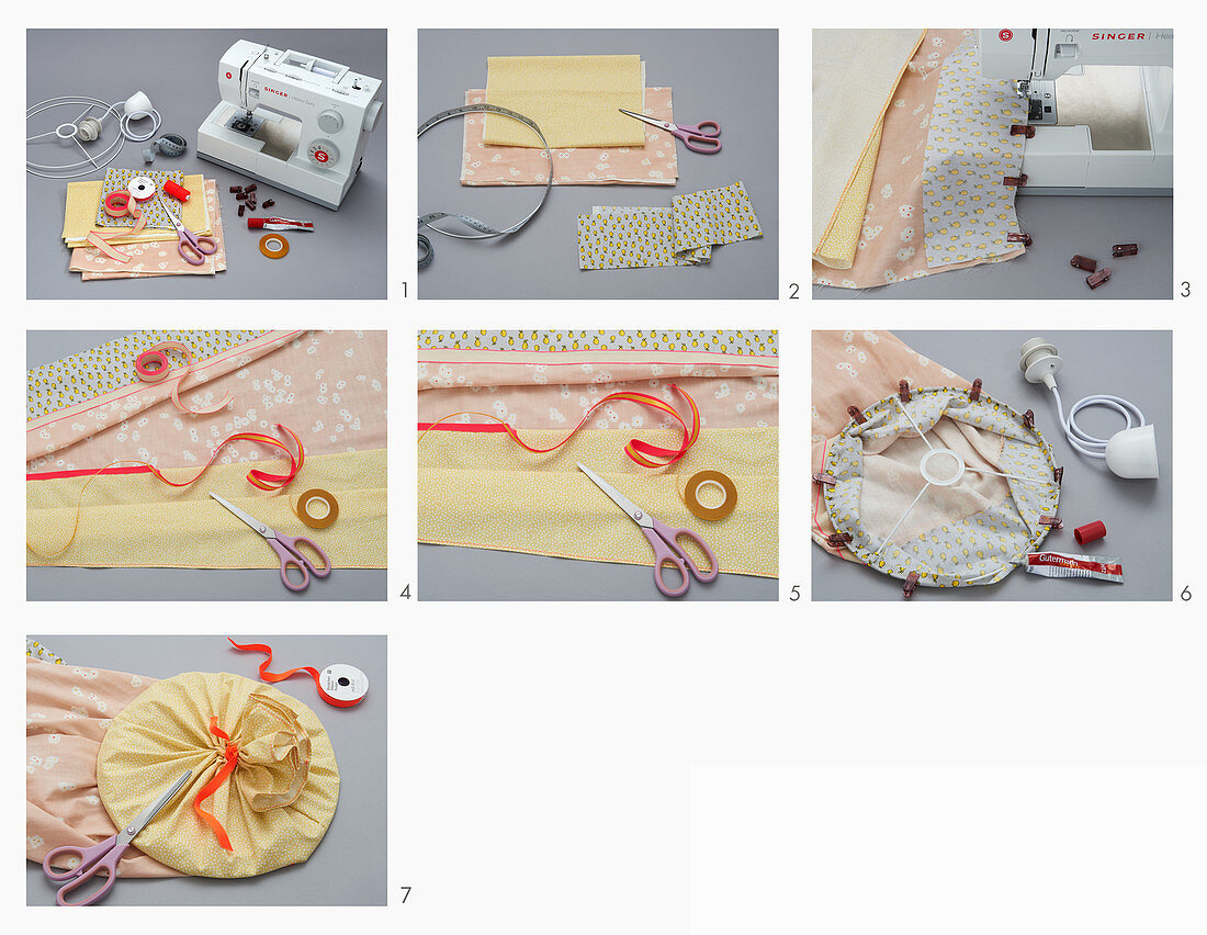 Instructions for sewing lampshade