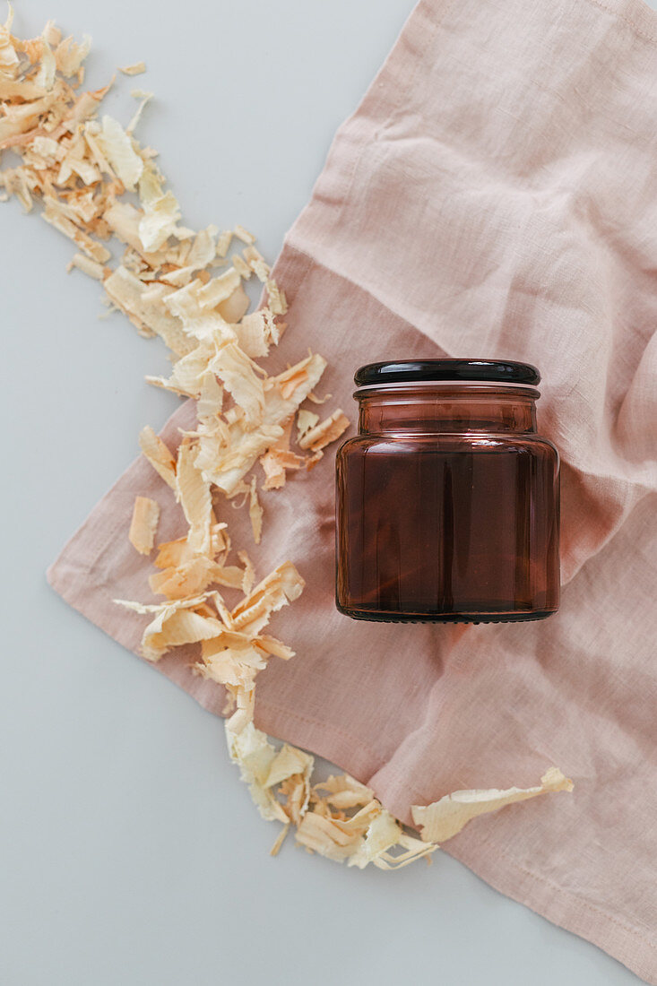 DIY room fragrance with stone pine shaving in a jar