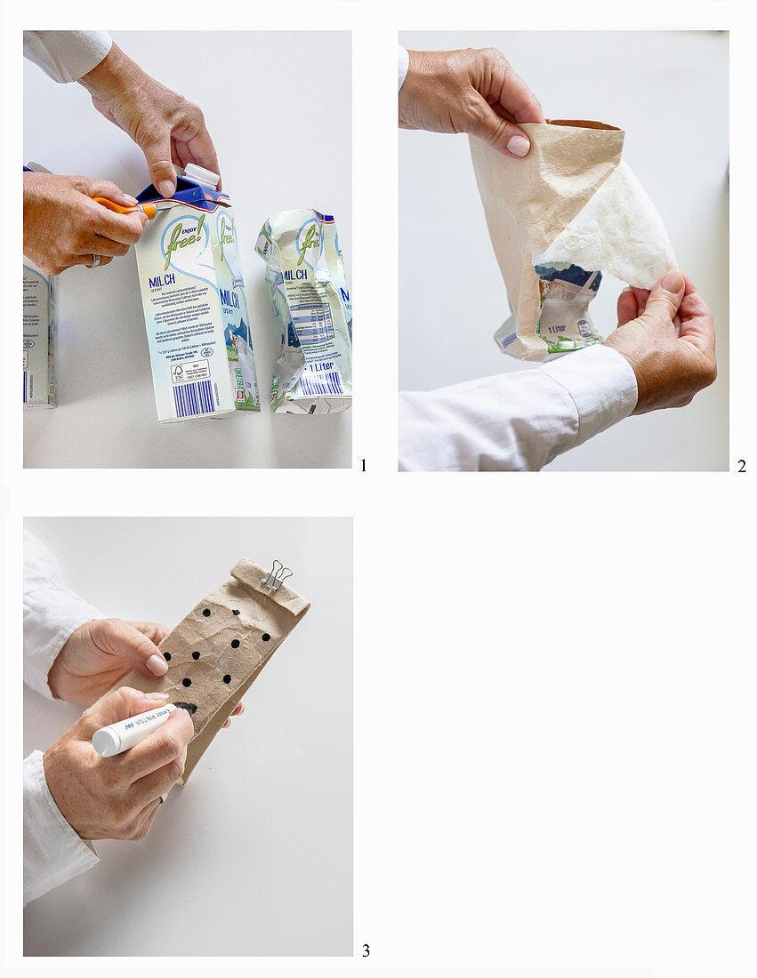 Upcycling: Geschenkverpackung aus Milchtüte basteln