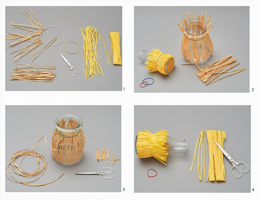 Decorating a vase and lantern with raffia