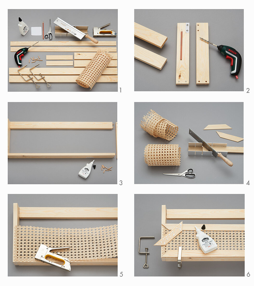 Making a wall-mounted shelf out of wood and Viennese cane