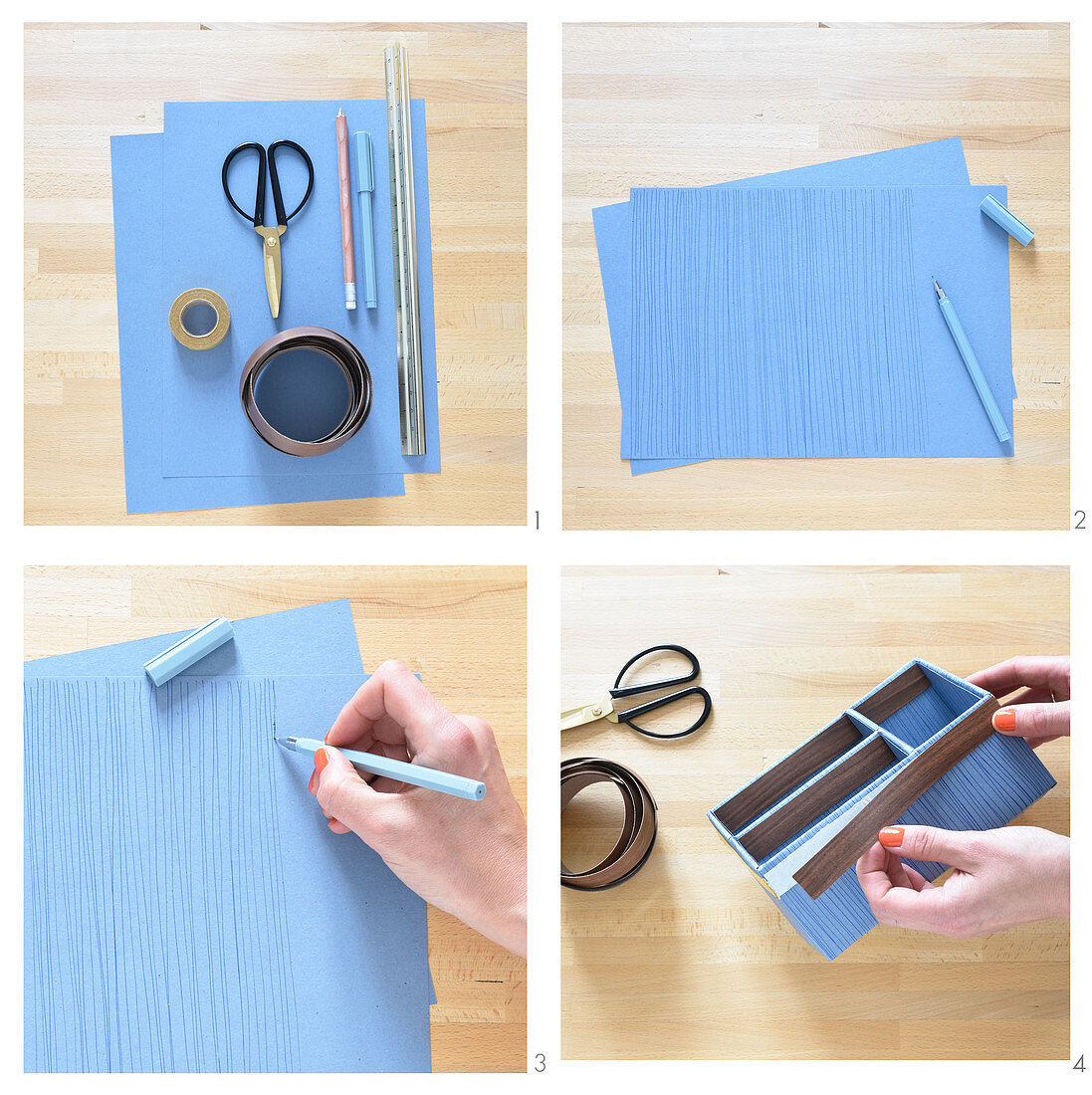 Instructions for making a desk organiser decorated with edging strip