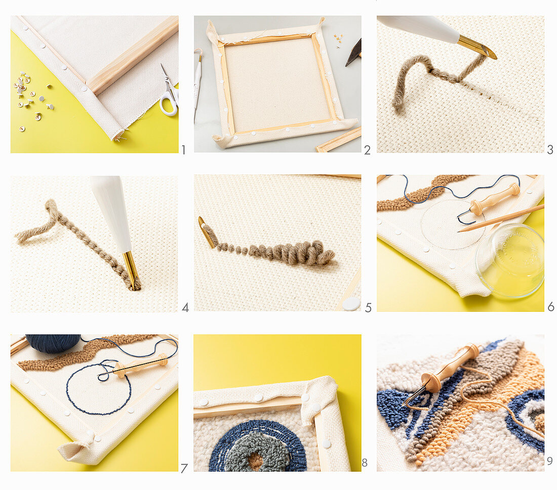 Instructions for making wall decoration using punch needle technique