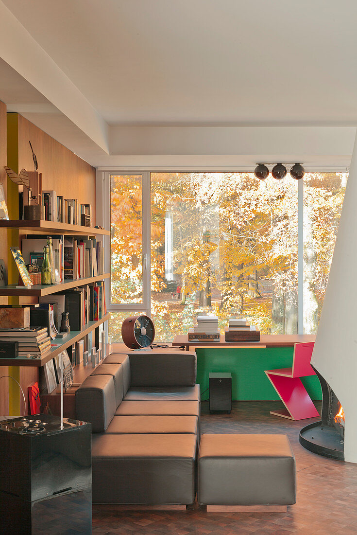 Bookcase, sofa and desk in reading room