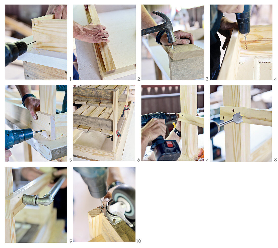 Instructions for making island counter from old door and palette wood