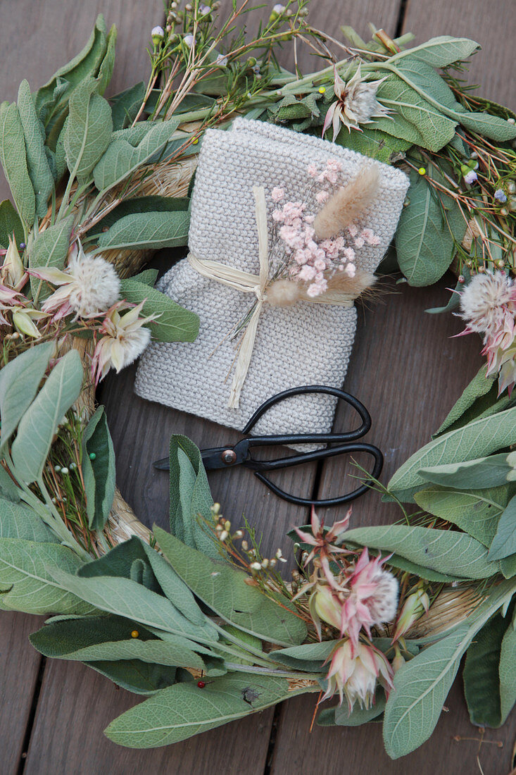 Wreath of sage and thistles