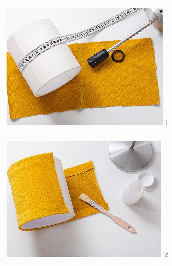 Lampenschirm aus gelbem Cord selbermachen