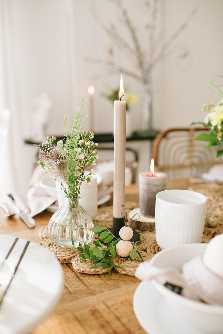 An Easter table decoratied in natural colours