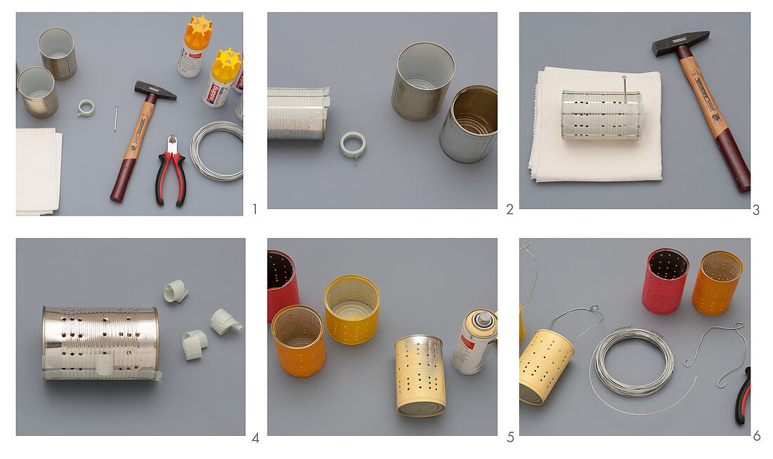 Instructions for making a lamp from painted tin cans