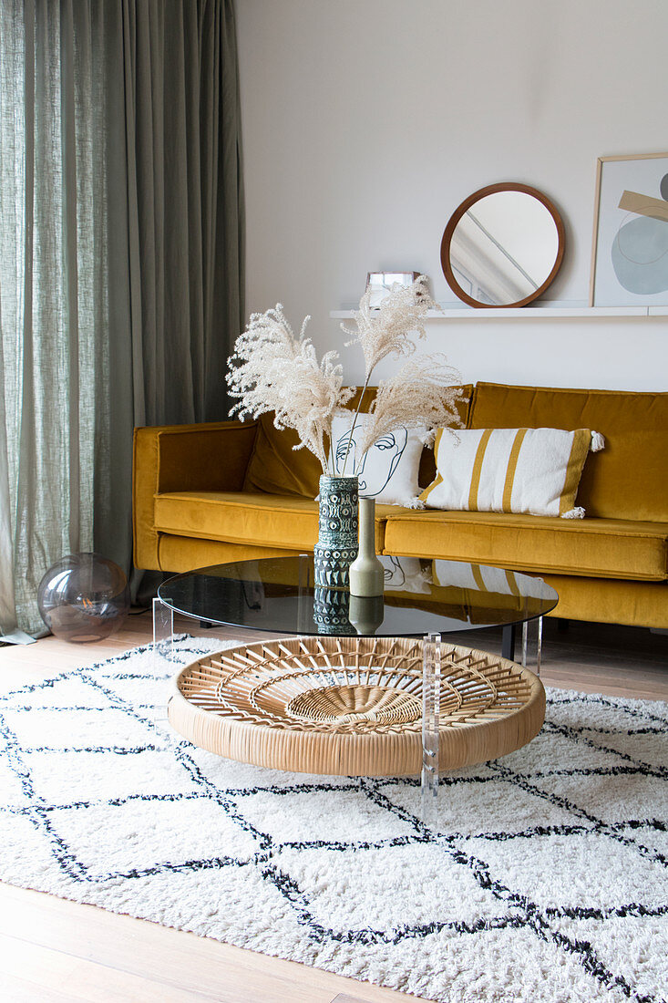 Pampas grass on coffee table in vintage-style living room