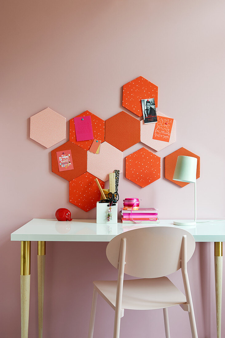 DIY pinboard made from hexagonal panels