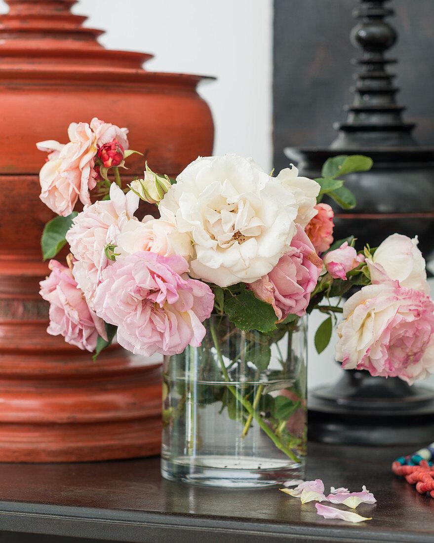 Cut roses in vase