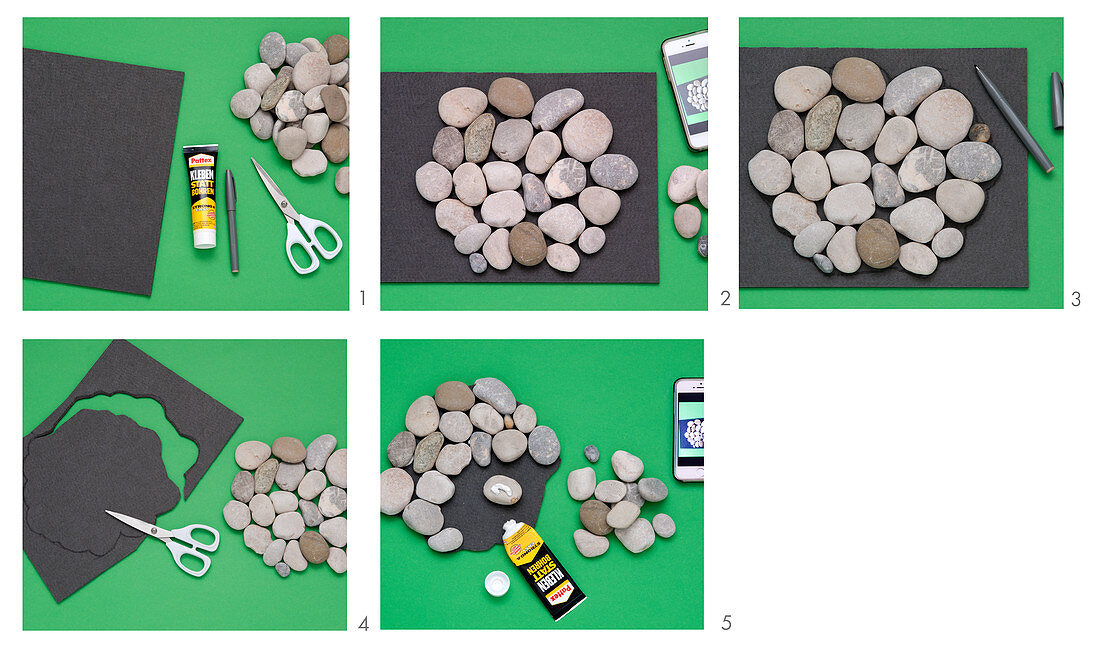 Instructions for making trivet from pebbles