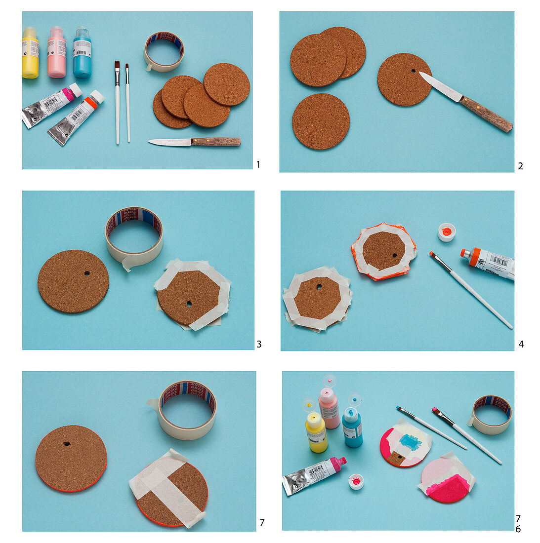 Instructions for making glass covers from cork coasters